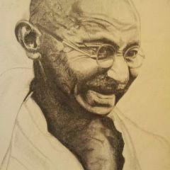 Radhika Tailor - Leicester:  Self drawn canvas portrait of Mahatma Ghandhi.